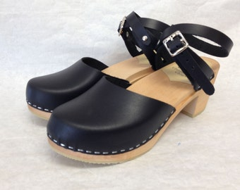 Zoe Med heel // Black Oiled Leather Wrap Around Strap Clog