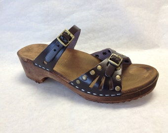 Vera // Low Heeled Brown motled and Bronze studded Sandals