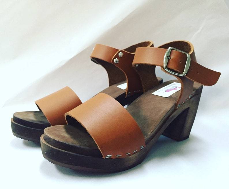 New Wide strap sandal in Honey Oiled w/ buckled ankle strap image 0