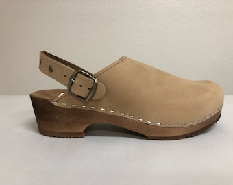 Lana LH // Nude nubuc Low heel clog with ankle strap and bronze studds and buckle