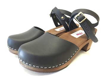 Zoe Med heel // Black Oiled Leather Wrap Around Strap with Brown Sole Clog