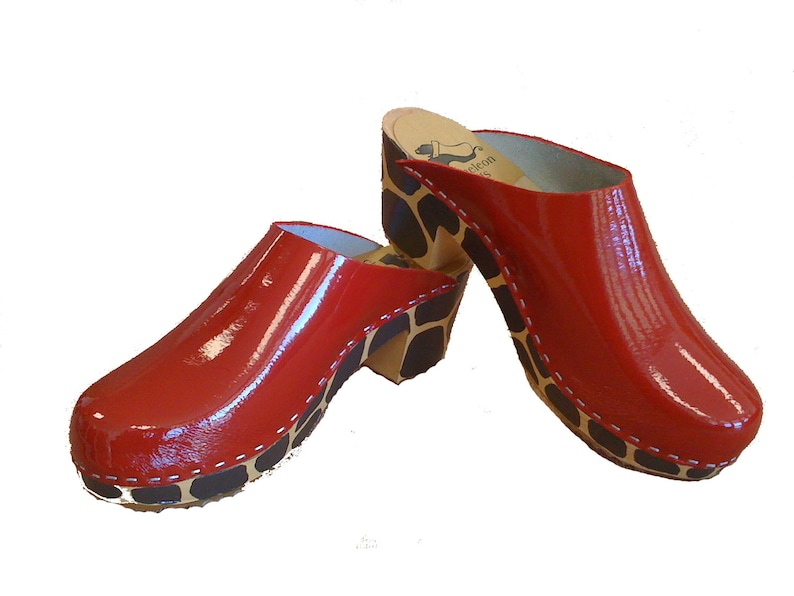 94c94d5670dc7 Deep Red patent clog with giraffe medium heel