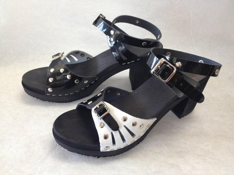 d131506f388de Super High Heeled Black n white patent sandal and studds