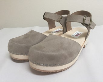 """Sophie Low heel //   Grey """"flocked"""" suede Mary Jane with buckled ankle strap"""