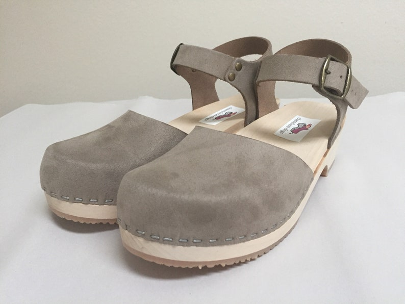 Grey flockedsuede Low Heel with buckle ankle strap image 0