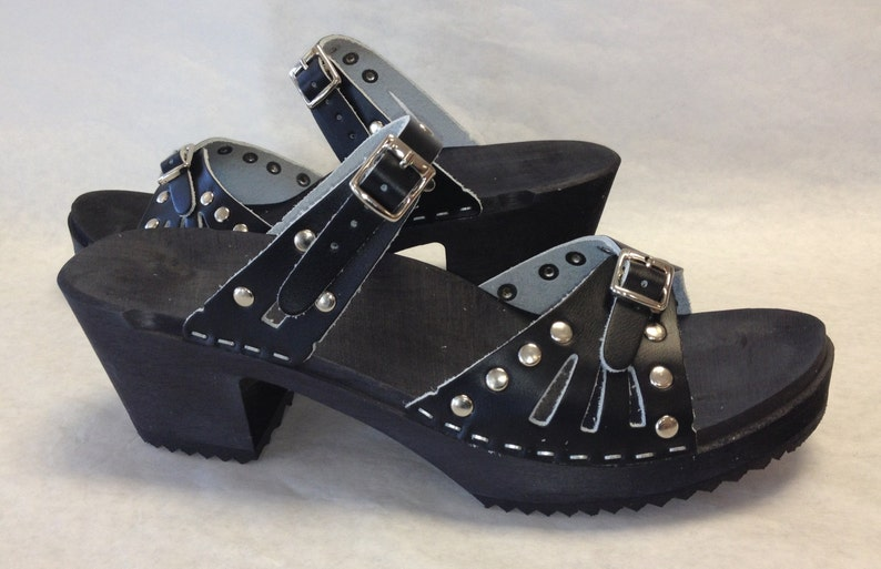 e7d195b5fef12 Medium Heeled Black and silver studded Sandals