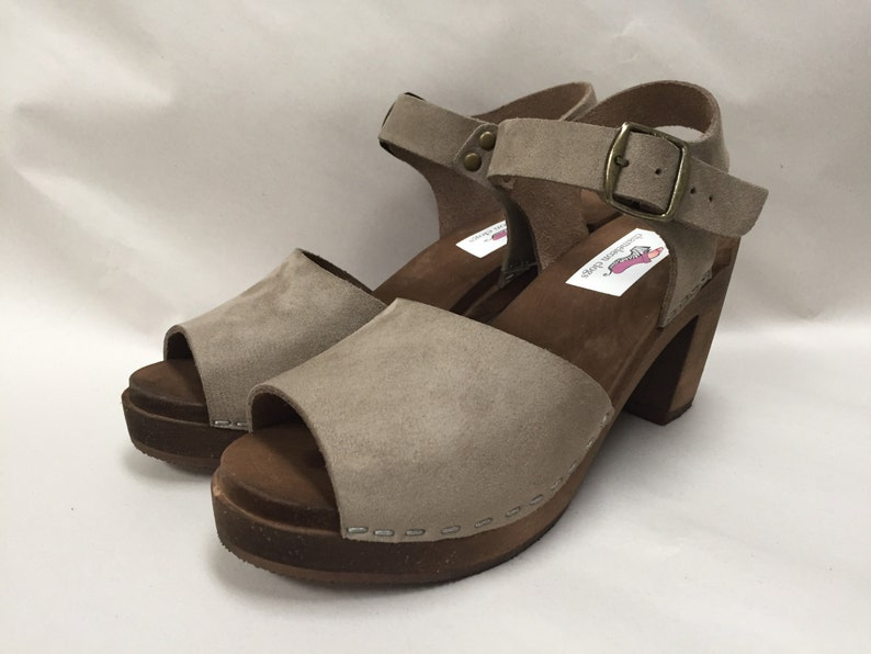 Open toe Grey Flocked Suede Mary Jane on a brown image 0