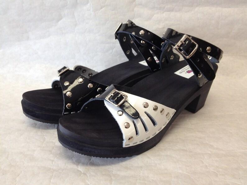 4310a6667565d Medium Heeled Black n white patent sandal and studds