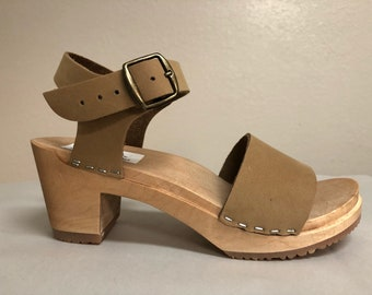 Lucy // Wide strap sandal in Nude Nubuc with Buckled ankle strap
