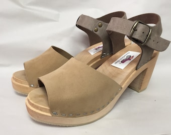 Betty // Open toe Two tone Nude Nubuc Mary Jane on a natural Super High Heel with buckled ankle strap