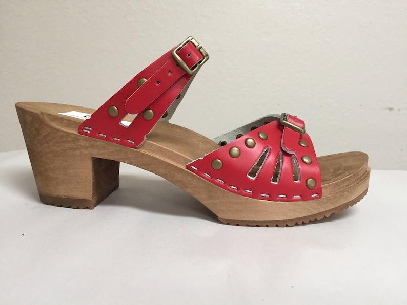 ef70dc1642af4 Red studded Medium Heeled Sandals