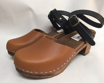 Zoe Med heel // Honey and Black Oiled Leather Wrap Around Strap Clog with Brown Sole