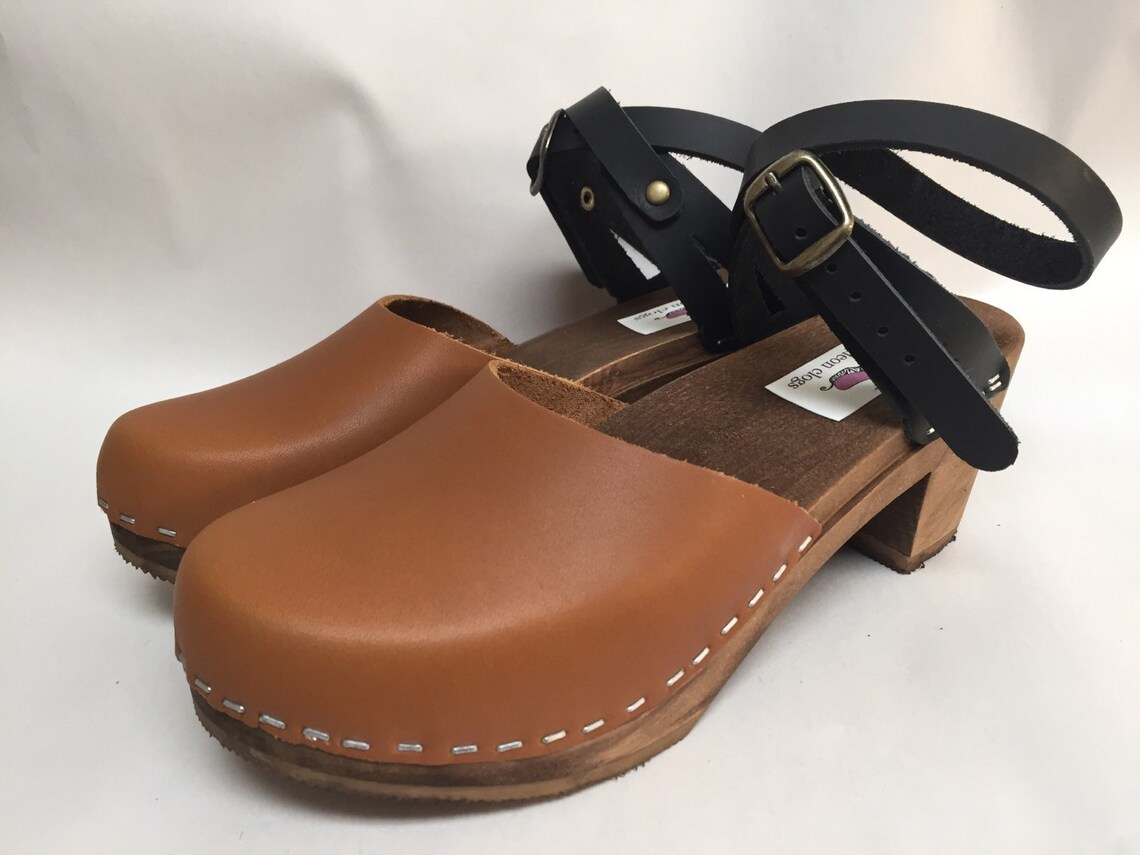 Two tone honey and black oiled mary jane Medium Heel with Wrap around ankle strap