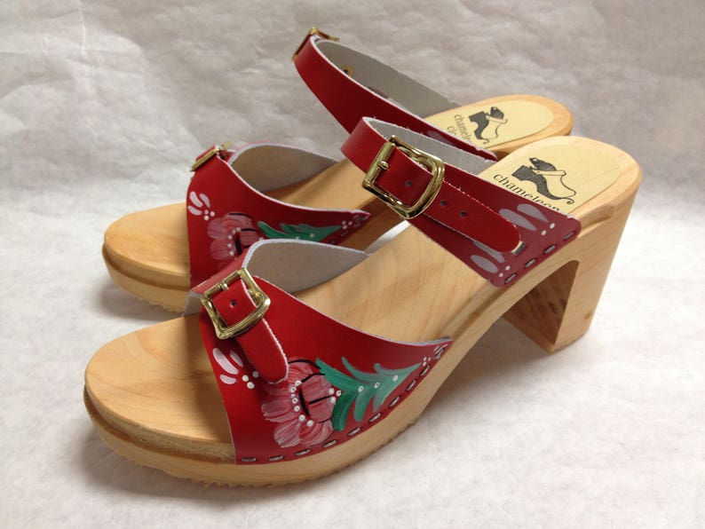 Hand painted red sandals on a natural super high heel image 0
