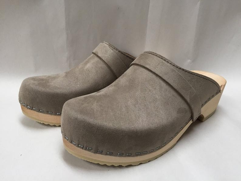 dc32de9f124c2 Grey Flocked Suede classic Low heel clog