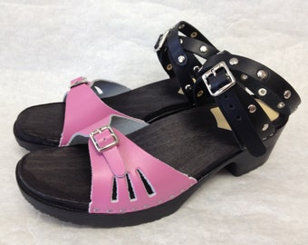 Fuschia and Black leather sandal on a BLACK comfort base with black wrap around ankle strap and silver studs