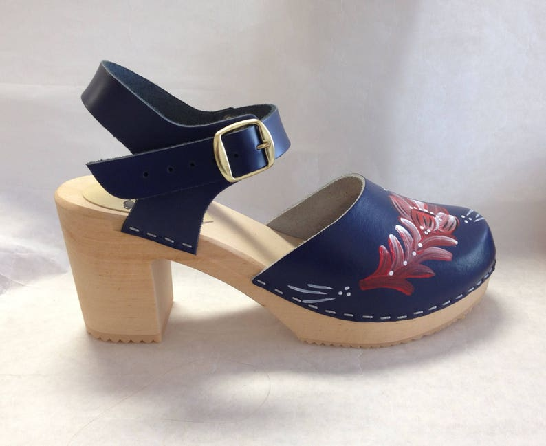 Navy blue Mary Jane on a natural Super High Heel with buckled image 0