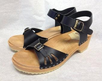 Vera // Black Vera Sandal with Buckled ankle strap