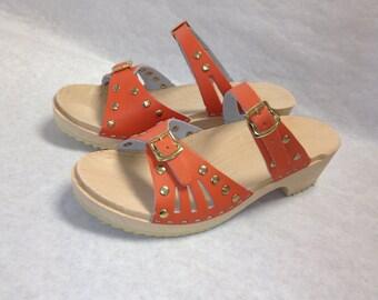 Vera // Low Heeled Soft orange and brass studded Sandals