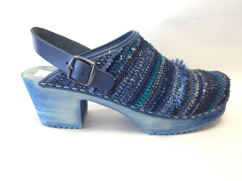 Blue Lagoon woven medium heel on a blue stained base and ankle image 0
