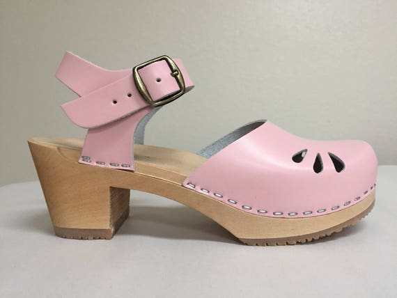 44dc513be742f Baby Pink Medium Heel Mary jane with buckle ankle strap and tear drop Cut  outs