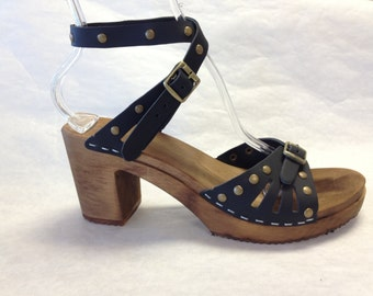 Vera // Brown Oiled Leather with Gold Studs Sandal