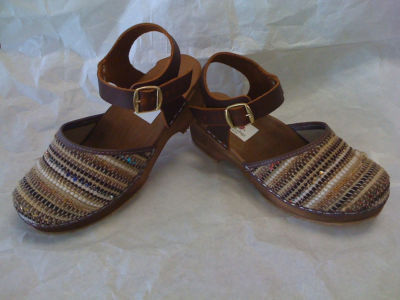 HandWoven Caramel Dalanna Low Heel with buckle ankle strap