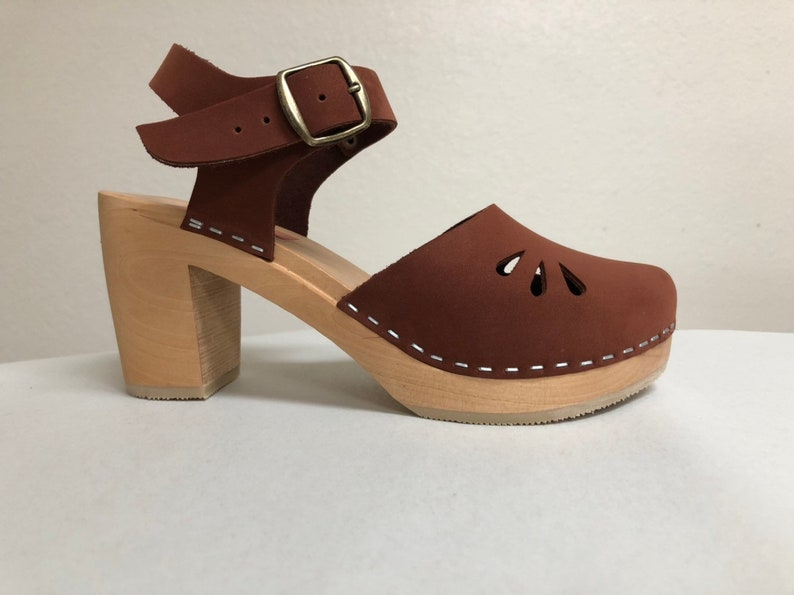 NEW Rust Buffed leather mary jane  w/cutouts Super High Heel image 0