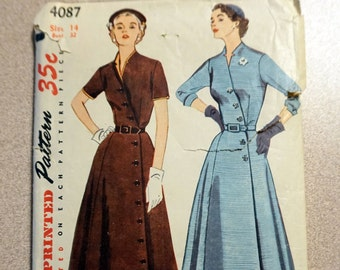 Vintage Simplicity 4087 - 1952 Women's Dress Pattern, sz 14 *Bust 32*