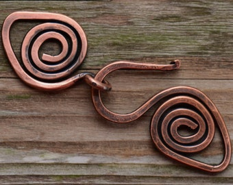 Handmade X-Large Spiral Antique Copper Clasp - 12 gauge Artisan Forged Antique Copper Clasp