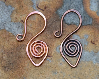 Handcrafted Copper Spiral Clasp - 16 gauge Artisan Forged Copper Clasp