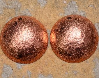 2 Artisan Hammered Shimmering Solid Copper Domed Dangles, 23mm Fine Hammered