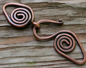 Handmade Spiral Copper Clasp - 14 gauge Artisan Forged Copper Clasp