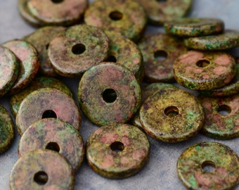 25 Heathered Green 13mm Round Washer Greek Ceramic Spacer Beads