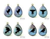 4pcs Handmade Teardrop Resin Vintage Black Birds Charm Glass Cabochons, 18x25mm 13x18mm Size