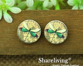 Buy 1 Get 1 Free - Vintage Butterfly Wood Cabochon, Wooden Button,12mm 15mm 20mm Round Handmade Photo Wood Cut Cabochon HWC009R