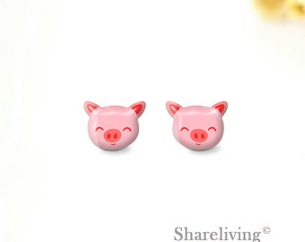 44ebe9102 4pcs (2 pairs) Mini Resin Pink Pig Earrings, Stud Earring, Laser Cut Tiny  Pig Head Charm / Pendant, Perfect for Earring - YED049R