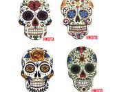 Vintage Sugar Skull Charms, Laser Cut Wood Skull Pendants