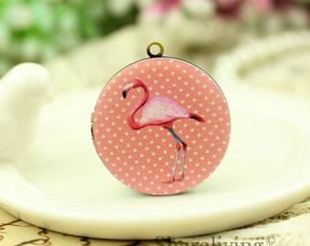 1pcs Pink Flamingos Locket Necklace, Antique Bronze Brass Locket Flamingos Charm Pendant 32mm 25mm 20mm Locket - HLK137K