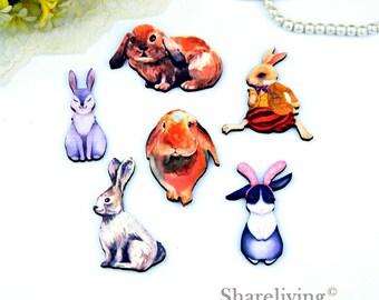 Wood Watercolor Rabbit / Bunny  Charms, Laser Cut Wooden Rabbit Pendants / Brooch