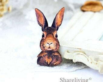 4pcs Watercolor Wood rabbit Charm , Laser Cut Wooden rabbit Pendant, Perfect for Necklace Brooch - HW111B