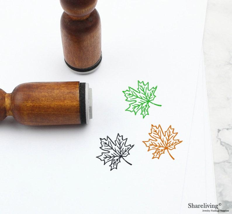 Cute Maple Leaf Stamps Mini Leaf Stamps \u03a6 15mm Mini Rubber Stamps ST006L 1pcs Vintage Maple Leaf Rubber Stamp