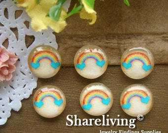 Glass Cabochon, 8mm 10mm 12mm 14mm 16mm 20mm 25mm 30mm Round Handmade photo glass Cabochons  (Rainbow) -- BCH116M