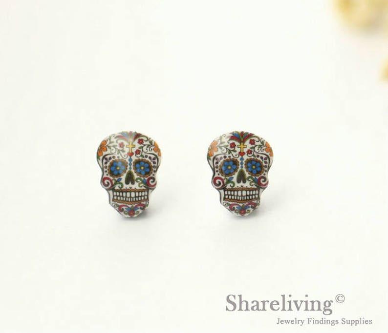 Cute Earrings Skull Earrings Day of the Dead Jewelry Teeny Tiny Earrings