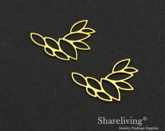 Exclusive - 6pcs Raw Brass Leafy Charm / Pendant, Geometry Leaf, Fit For Necklace, Earring, Brooch - TG360