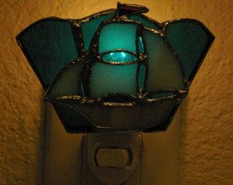 Handmade Stained Glass Sailboat Night Light.