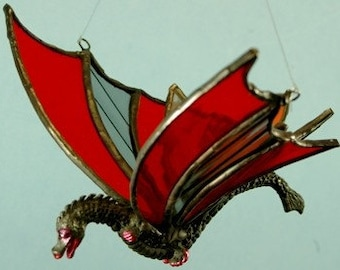 Hand made Stained Glass Orange and Grey Flying Dragon Sun Catcher