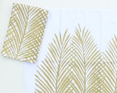 Tropical Decor / Beach Decor / Coastal Decor / Elegant Dining / Gold Palm Leaf Cloth Napkins / Gold and White Cloth Napkins / Table Setting