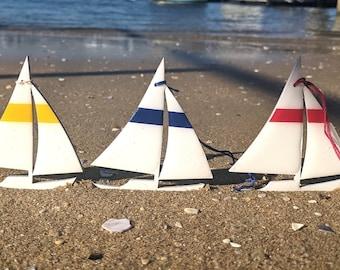 Set of 3 Sailboat Ornaments - Nautical Decor
