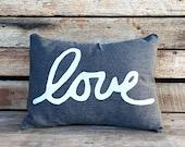 OUTDOOR/INDOOR Love Pillow - Outdoor throw pillow - outdoor pillow - Gray and White Love Pillow - Patio Decor - Cursive Love Pillow